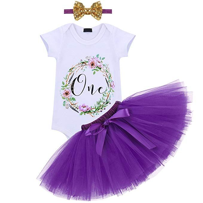 81bbf94fef52 Amazon.com: First Birthday Party Baby Girl Outfits Romper Tulle Skirt  Headband 3PCS Princess Cake Smash Photography Prop Clothes Set Purple: Baby