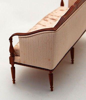 Vtg Dollhouse Miniature Sheraton Settee Couch Ferd Sobol Artisan Replace Fabric astonishing woodwork! Originally $825.00