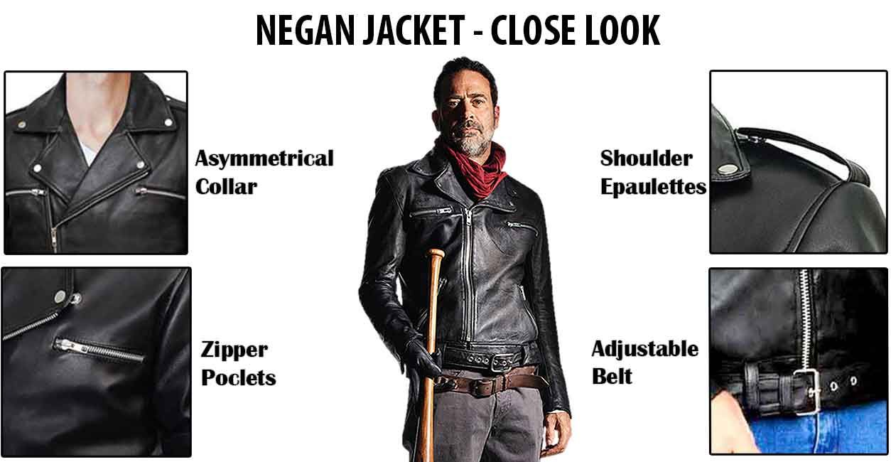 47f659d73 The Walking Dead Jeffrey Dean Morgan Black Real Negan Leather Jacket ...