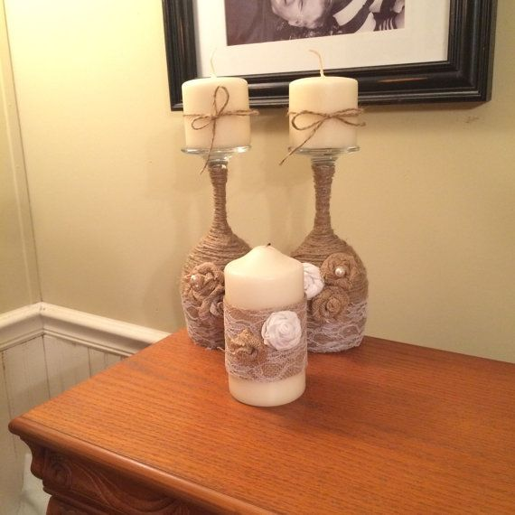 Twine wrapped wine glass candle holders by WildPineappleDesigns