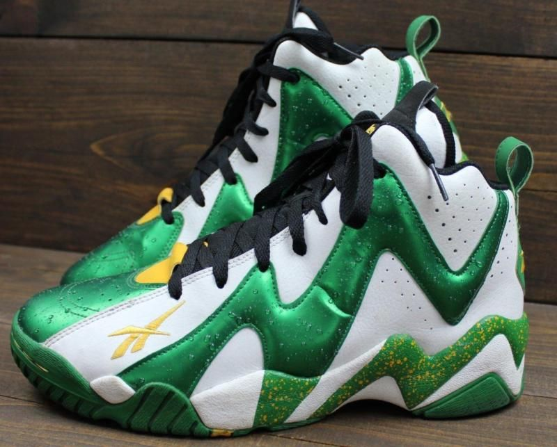 Reebok Kamikaze II Mid Shawn Kemp Sonics Green Yellow Shoes Sneakers Size 10 544061cf3