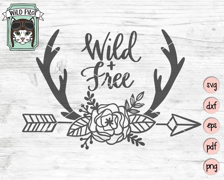 Deer Antlers SVG, Deer Antlers Flowers svg file, Arrow SVG