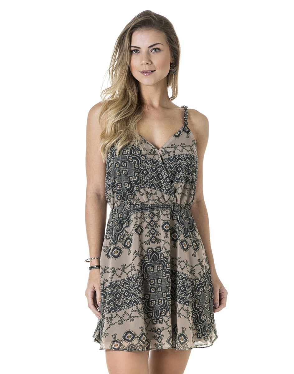 Vestido Estampado Godê Chifon Joia - Lez a Lez   vestido medio ...