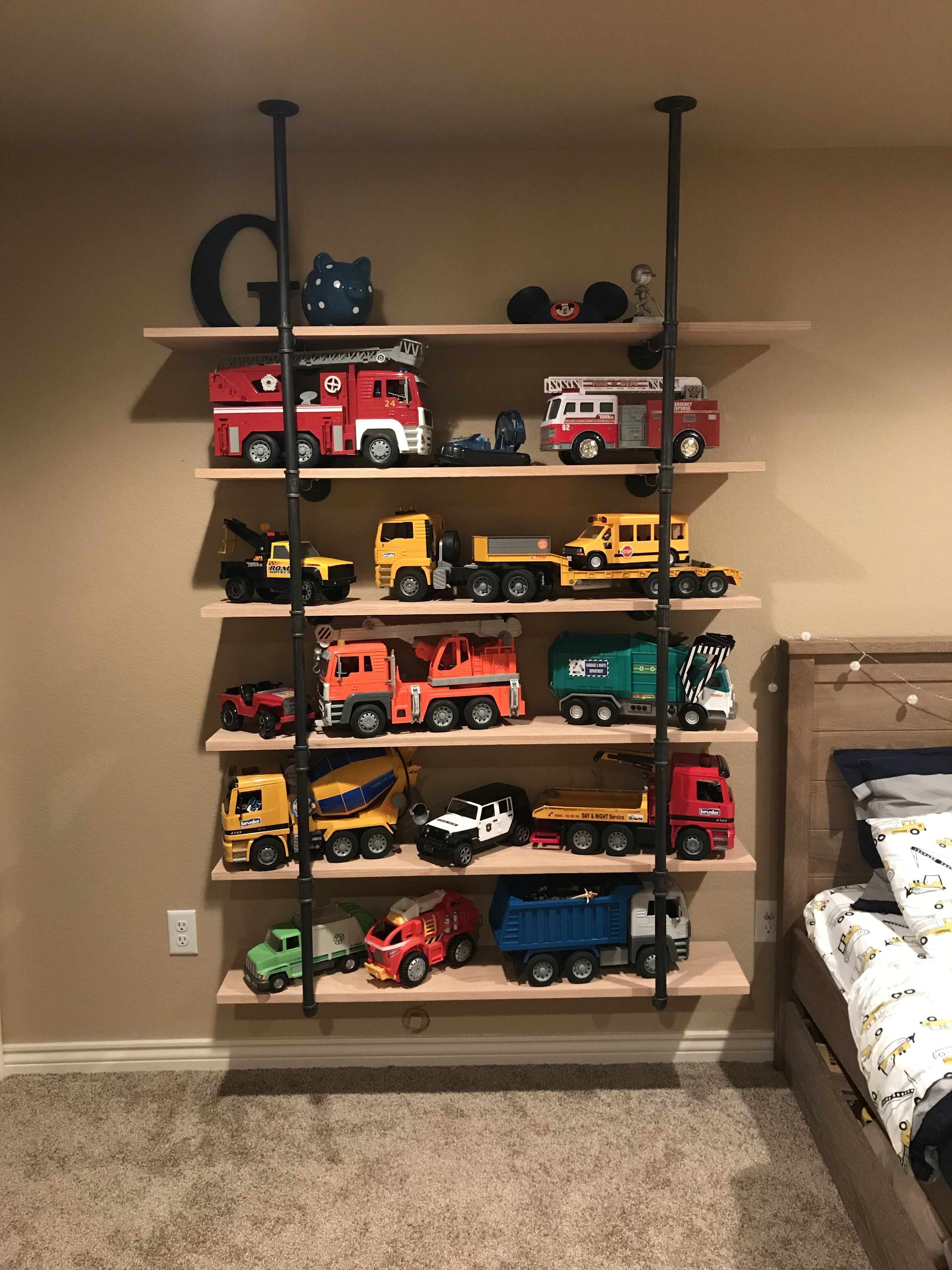Truck Storage Bruder Trucks Shelves Toy Storage Boy Room Boys Big Boy Room Boy Room Toddler Rooms