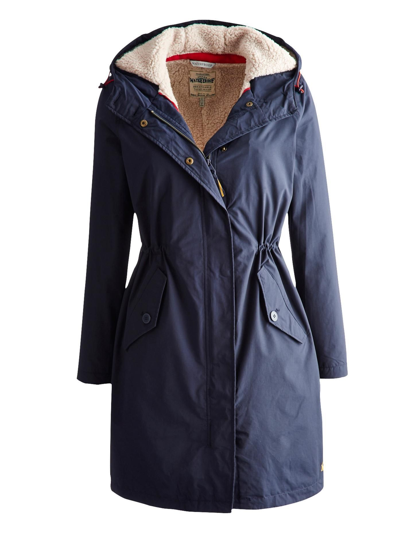 Joules Womens Waterproof Parka, Marine Navy. This long length, 100 ...