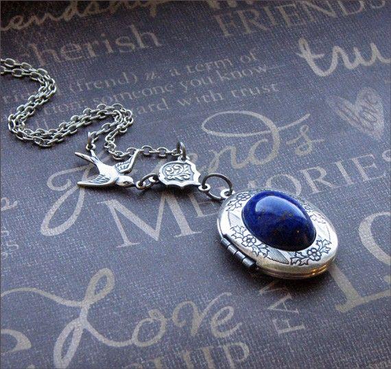 9ct Gold Lapis Lazuli Swirl pendant without chain