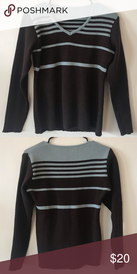 d6209156bc9 Blue and brown striped sweater (NOT from madewell. I originally bought this  on depop