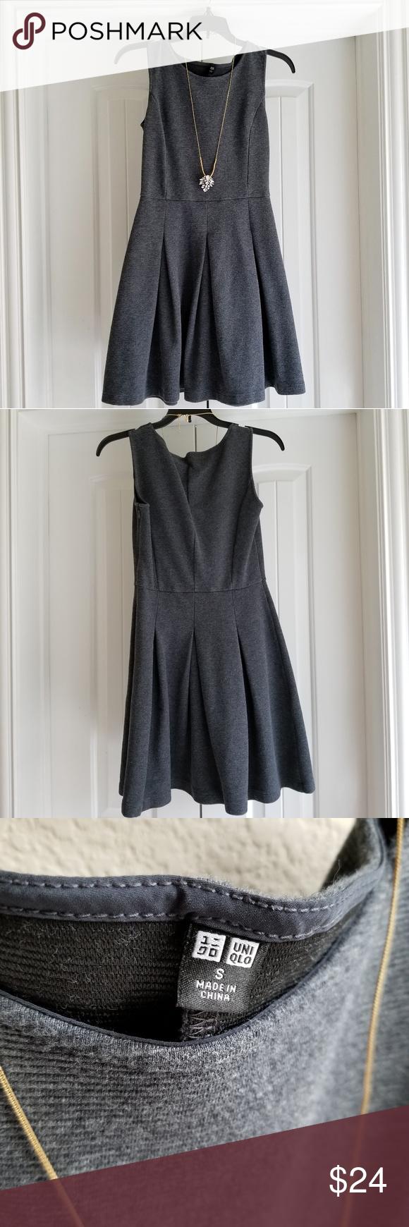 Uniqlo gray dress thick full skirt my posh picks pinterest