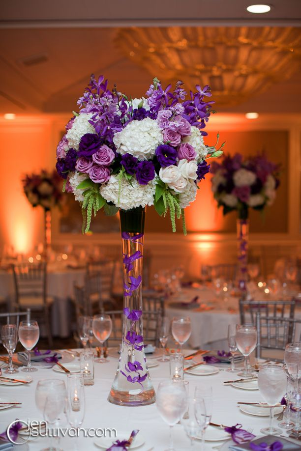 purple reception wedding flowers, wedding decor, wedding flower ...