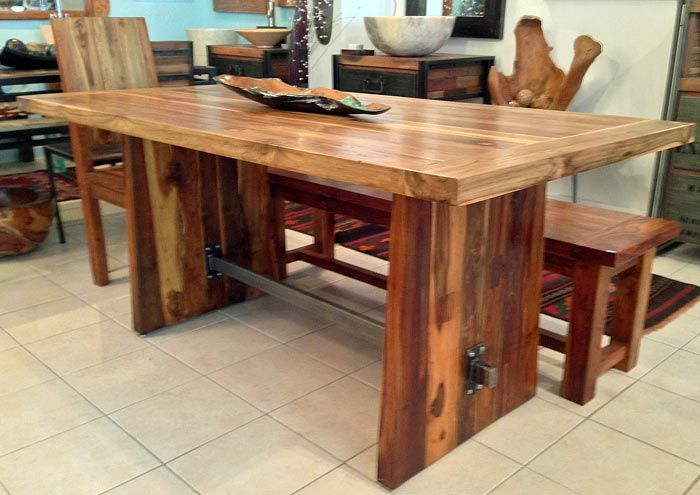 Exceptional Reclaimed Teak Dining Table With Custom Steel Trestle, 3 Foot Wide X 5u0027