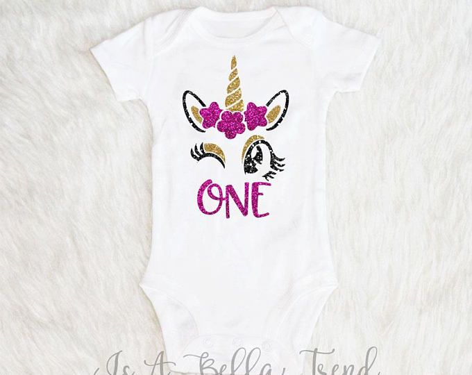 Unicorn First Birthday Outfit Girl Shirt