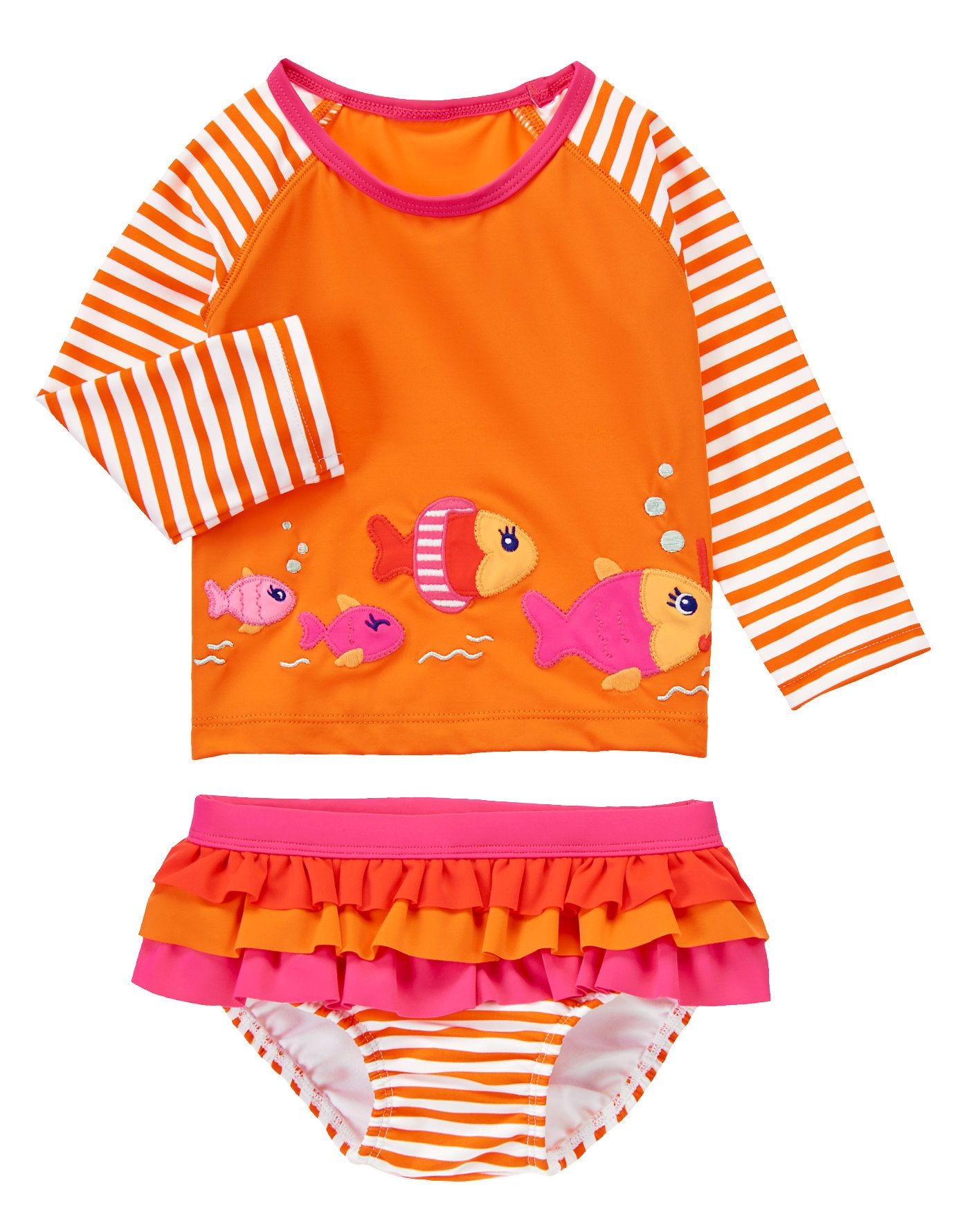 2b118f7b272df5 Gymboree Resort Fish Striped Rash Guard Two-Piece Swimsuit Set Girls Months