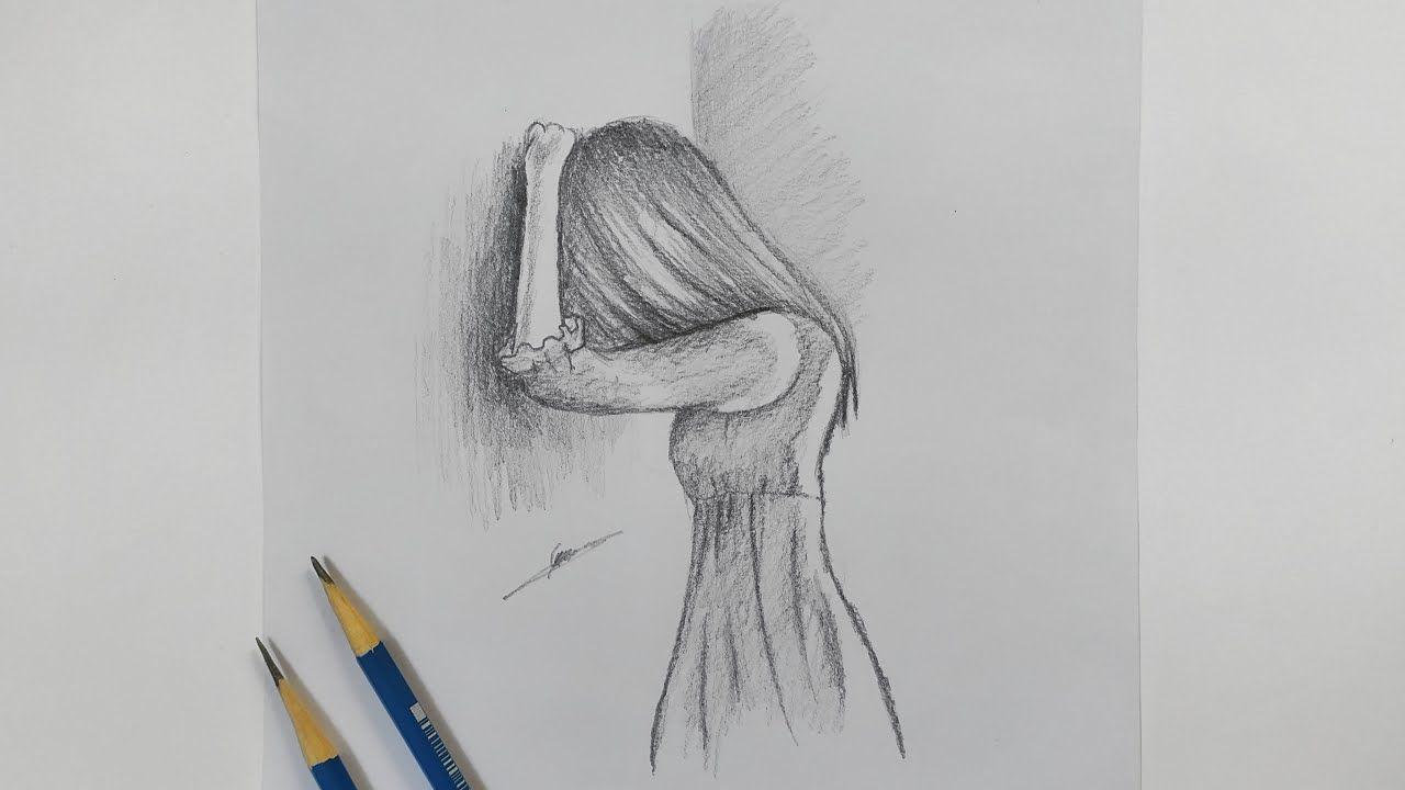 رسومات بالرصاص سهلة Female Sketch Humanoid Sketch Art