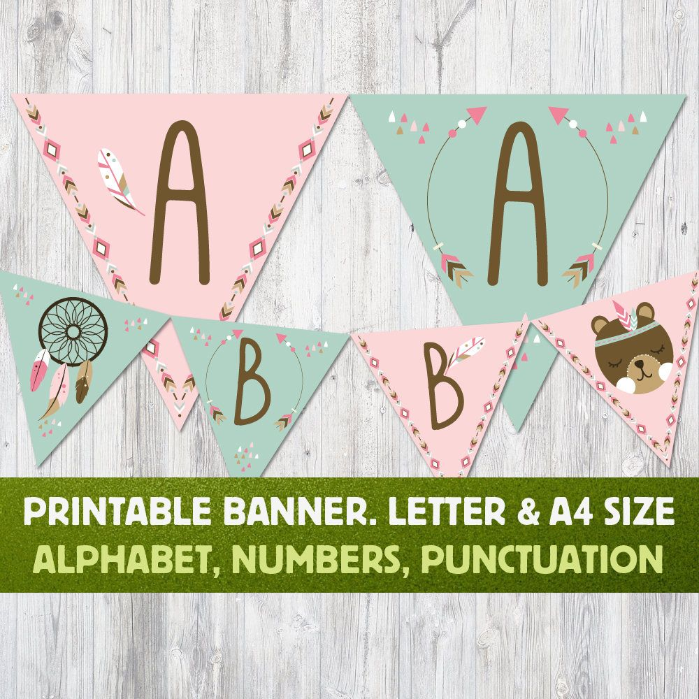 Boho Party Flags Alphabet Banner Boho Bunting Flags Baby Shower Decor Customized Diy Word Banner Arrows And Feather B Party Flags Baby Room Design Banner