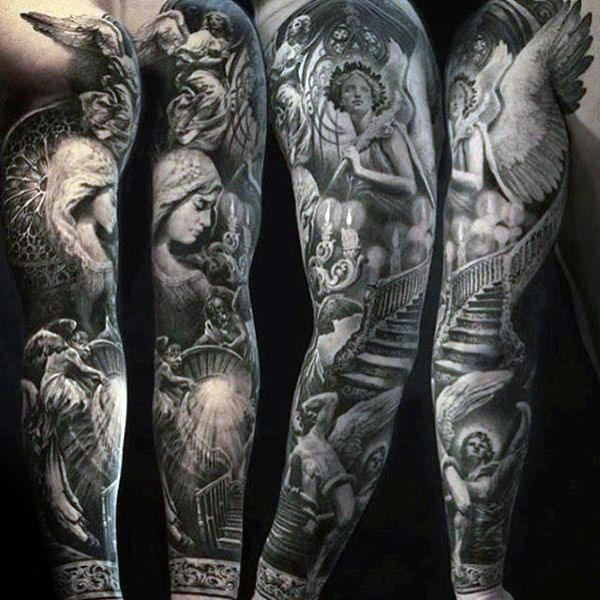 Stairway To Heaven Mens Unique Angel Full Sleeve Tattoo ...