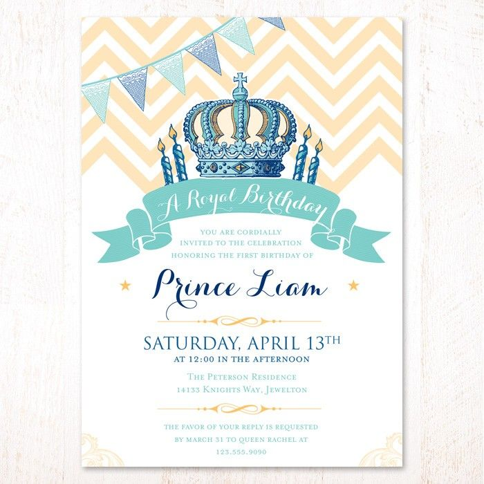 Royal Prince Birthday Invitations Hostess Ink My Style