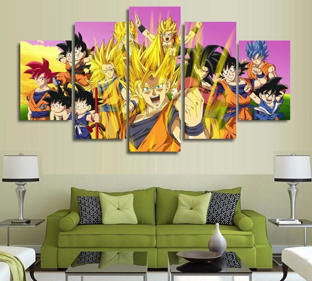 5 Panels Wall Art Dragon Ball Z Goku Super Saiyan Paintings Art Canvas Paintings Poster Unfr Wall Art Canvas Painting Canvas Wall Art Set Customized Canvas Art