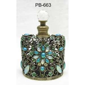Glass Perfume Bottle Green Flower Stones Inlaid Design