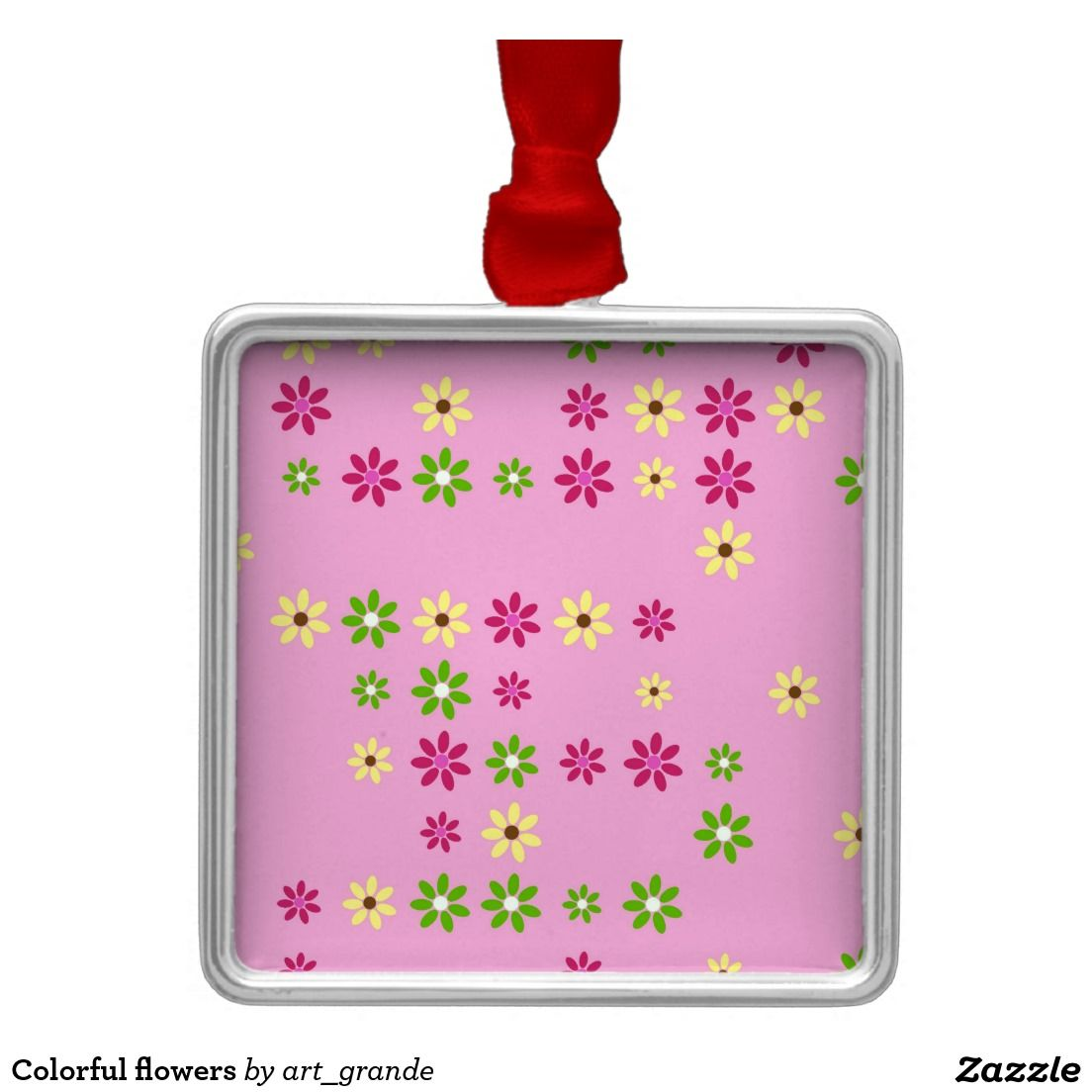 Colorful flowers metal ornament
