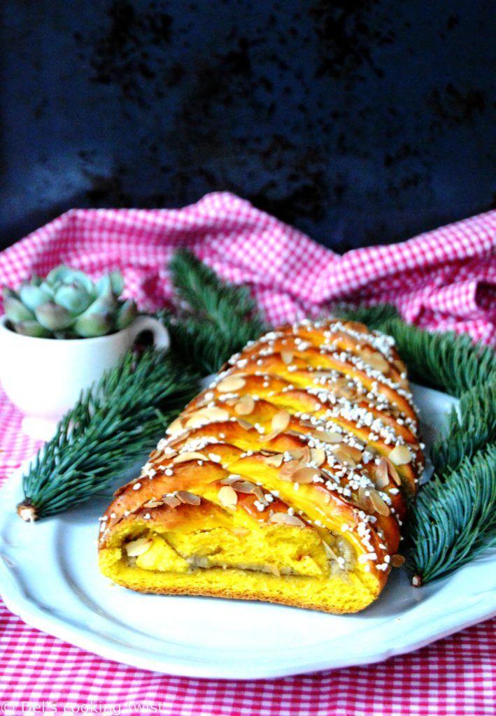 Swedish Christmas Bread.Swedish Saffron Braided Bread With Vanilla Cream