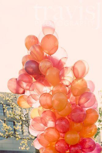 Orange and pink balloons