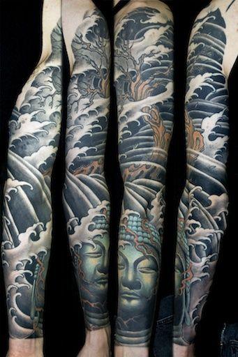 721915bec8cb6 Home   Tattoo Art   Buddah sleeve tattoo, Tree sleeve tattoo, Tattoo ...