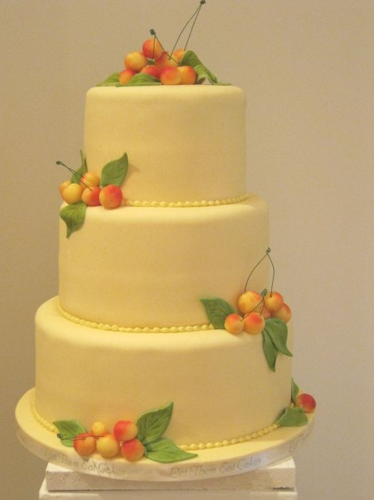 cake covered in marzipan + marzipan cherries | wedding cakes ...