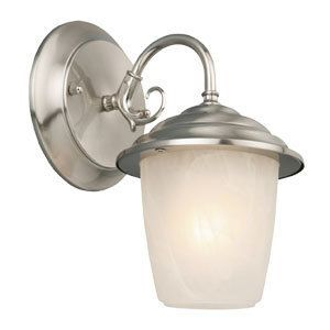 Design House 5194 Millbridge One Light Wall Sconce with Alabaster Glass Satin Nickel Outdoor Lighting Wall Sconces Outdoor Wall Sconces