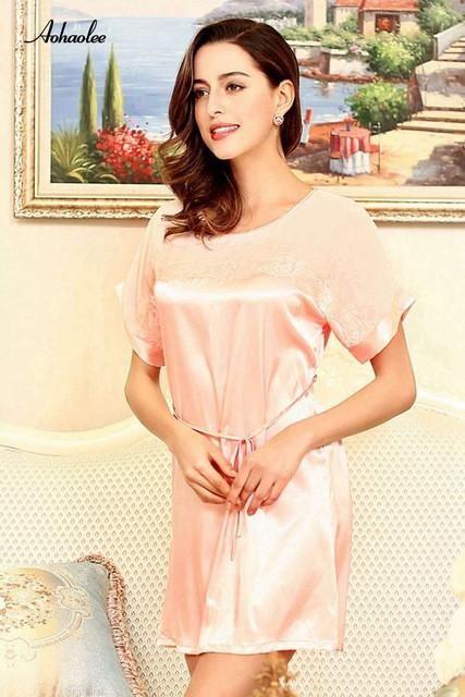 0919a797f3 Women s Sleepwear Nightwear Dresses Sexy Adult Nightgowns Soft Rayon Silk  Nightgowns   Sleepshirts Dress