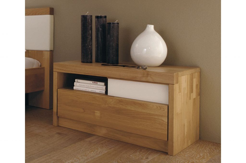 Bedroom Furniture Long Unfinished Oak Wood Bed Side Table With