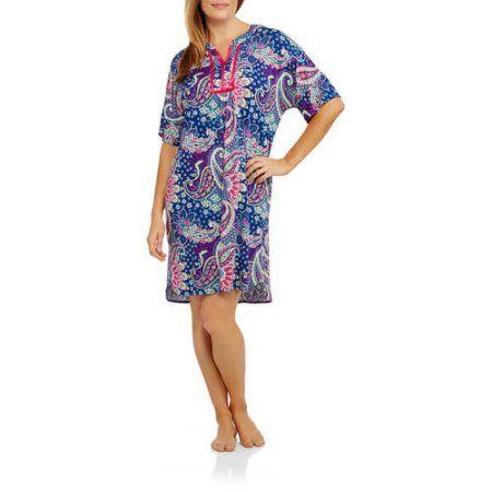 Plus Size Secret Treasures Women's and Women's Plus Short Sleeve Printed Caftan Poly Lounger, Size: 3XL, Blue