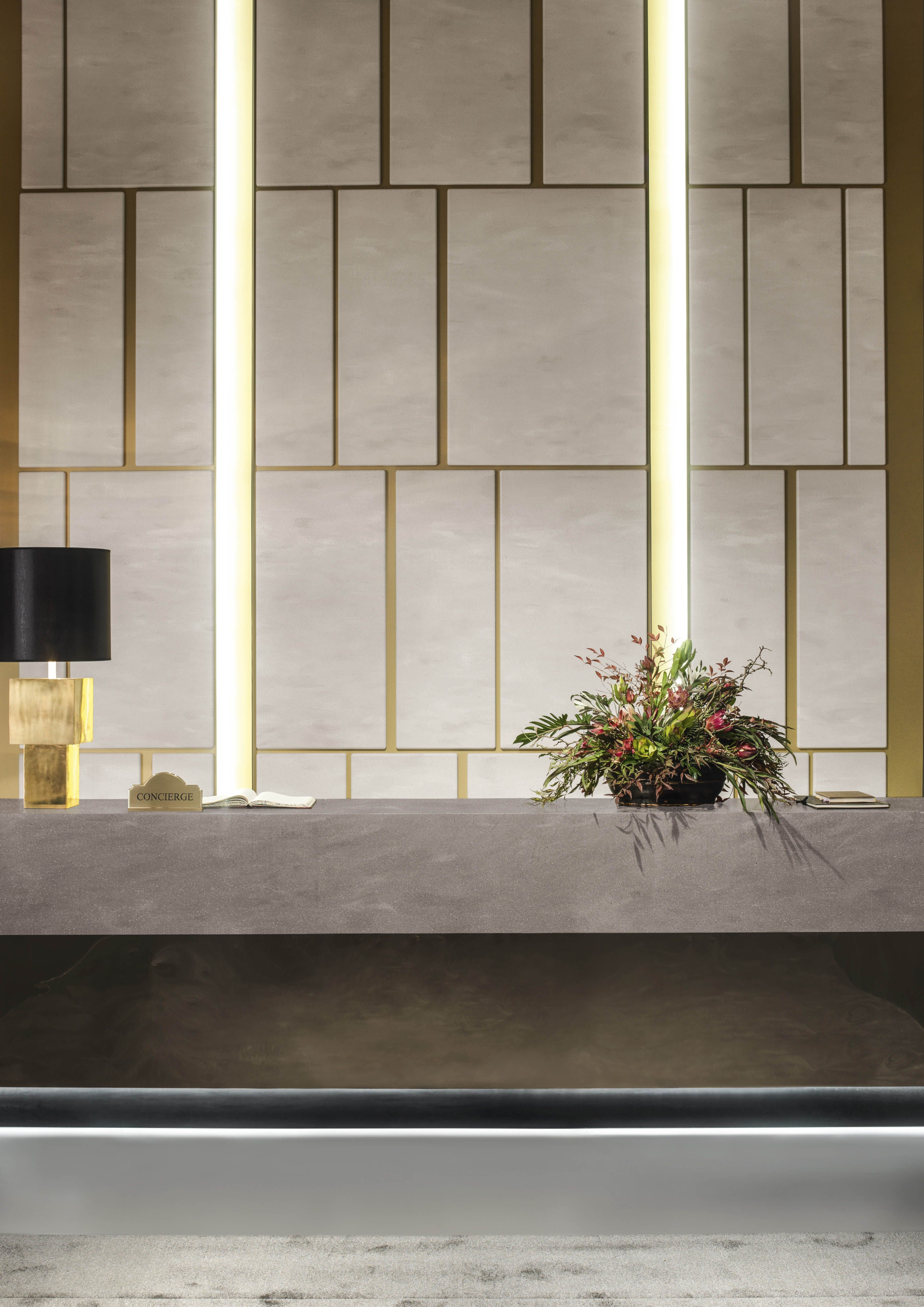 Corian For Reception Counters Dupont Corian Solid Surfaces Corian In 2020 Interior Wall Design Lobby Interior Design Wall Cladding