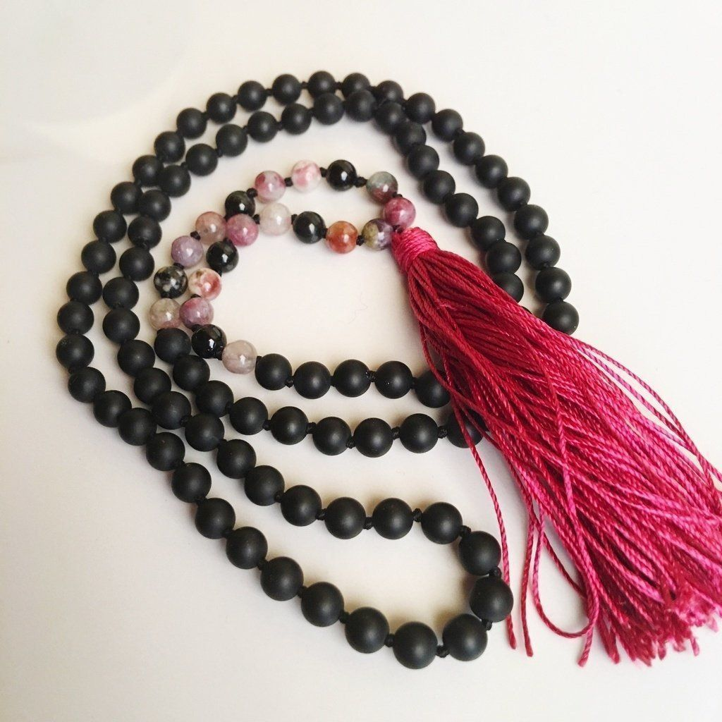 Tourmaline Necklace Beaded Necklace for Women Mala Necklace Pink Long Beaded Necklace Prayer Necklace Tassel Necklace Yoga Necklace