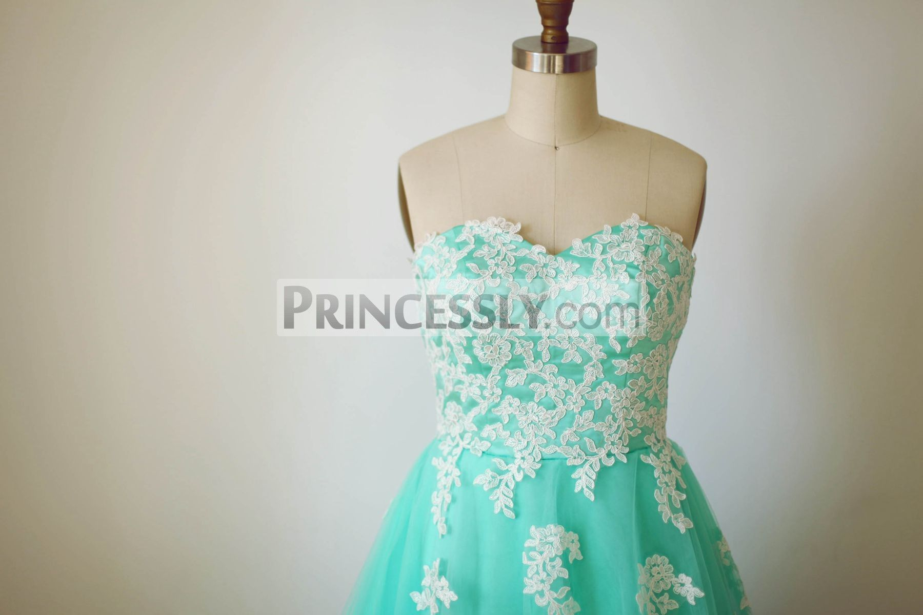 Strapless Sweetheart Mint Blue Tulle Lace Tea Length Short Wedding ...