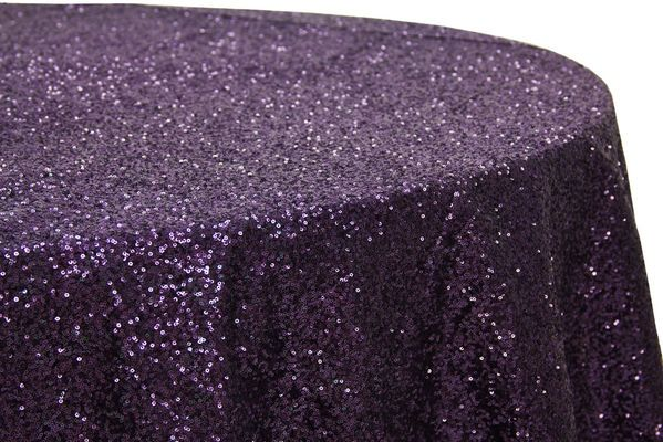 Glitz Sequins 132 Round Tablecloth Eggplant Plum Wedding