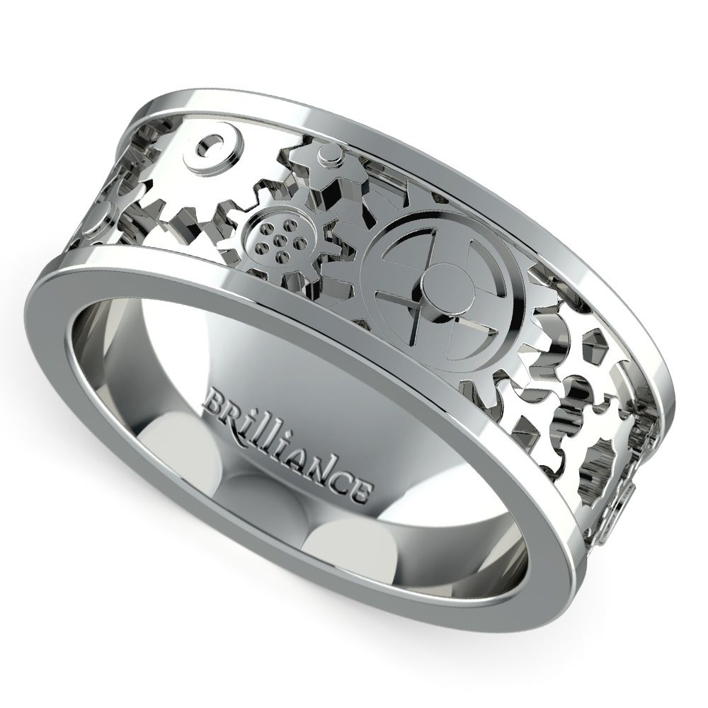 Gear Channel Mens Wedding Ring in White Gold White gold Ring and