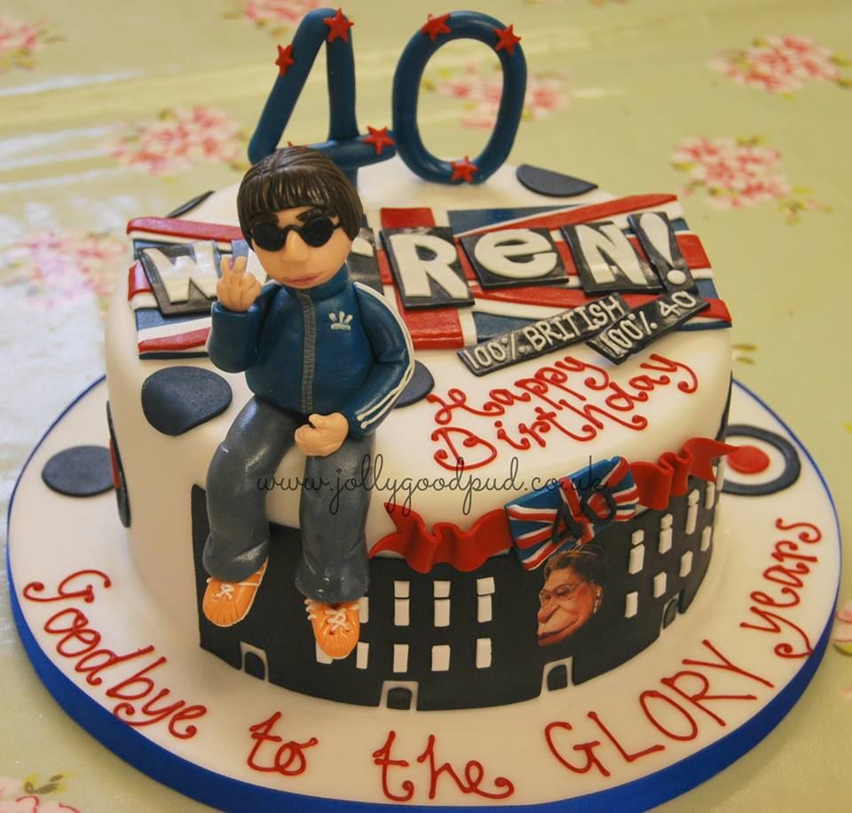Brit Pop 40th Birthday cake cakes for men from The Jolly Good