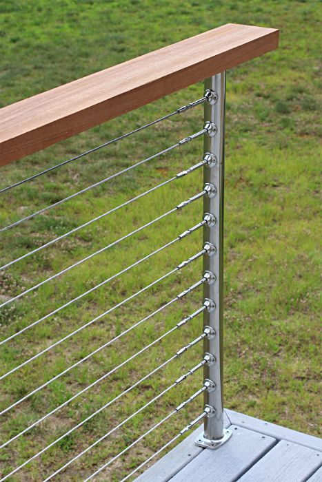 Deck Railing Photo Gallery - Stainless Steel Cable Railing with Wooden Handrail