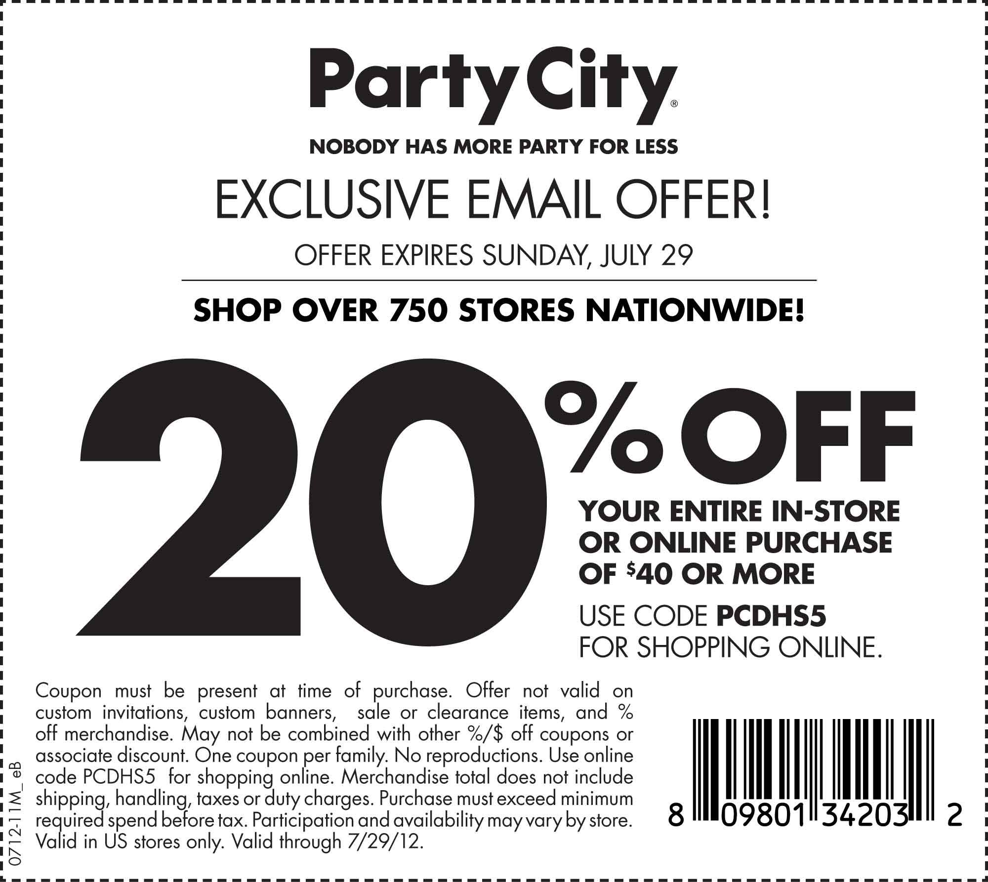 Party City 20 Off 40 Printable Coupon Party City Printable Coupons Coupons For Free Items