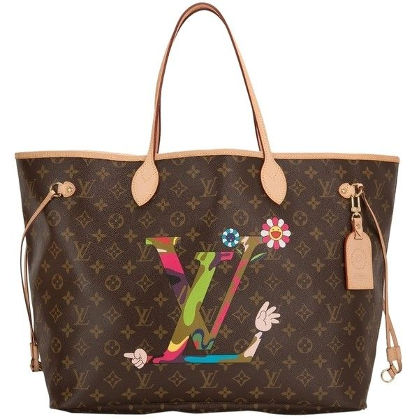 2 100 Liked On Polyvore Featuring Bags Handbags Tote None Brown Cartoon Purses Pre Owned Louis Vuitton Bag And