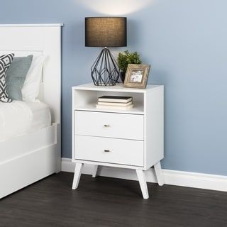Best Milo Mid Century Modern 2 Drawer Tall Nightstand With Open 400 x 300