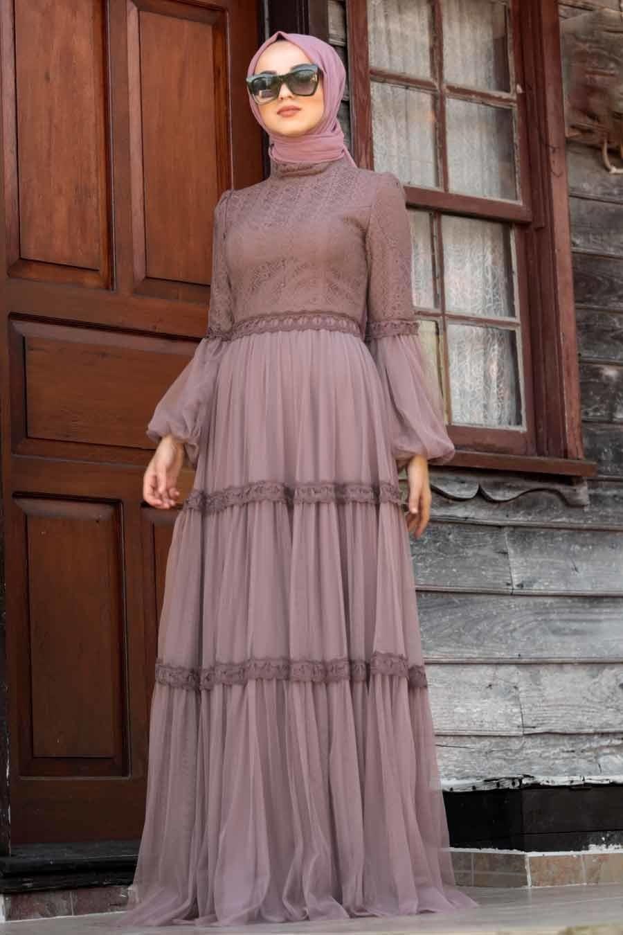 Tesetturlu Abiye Elbise Balon Kol Gul Kurusu Tesettur Abiye Elbise 39550gk Tesetturisland Com Elbise Moda Stilleri Mankenler