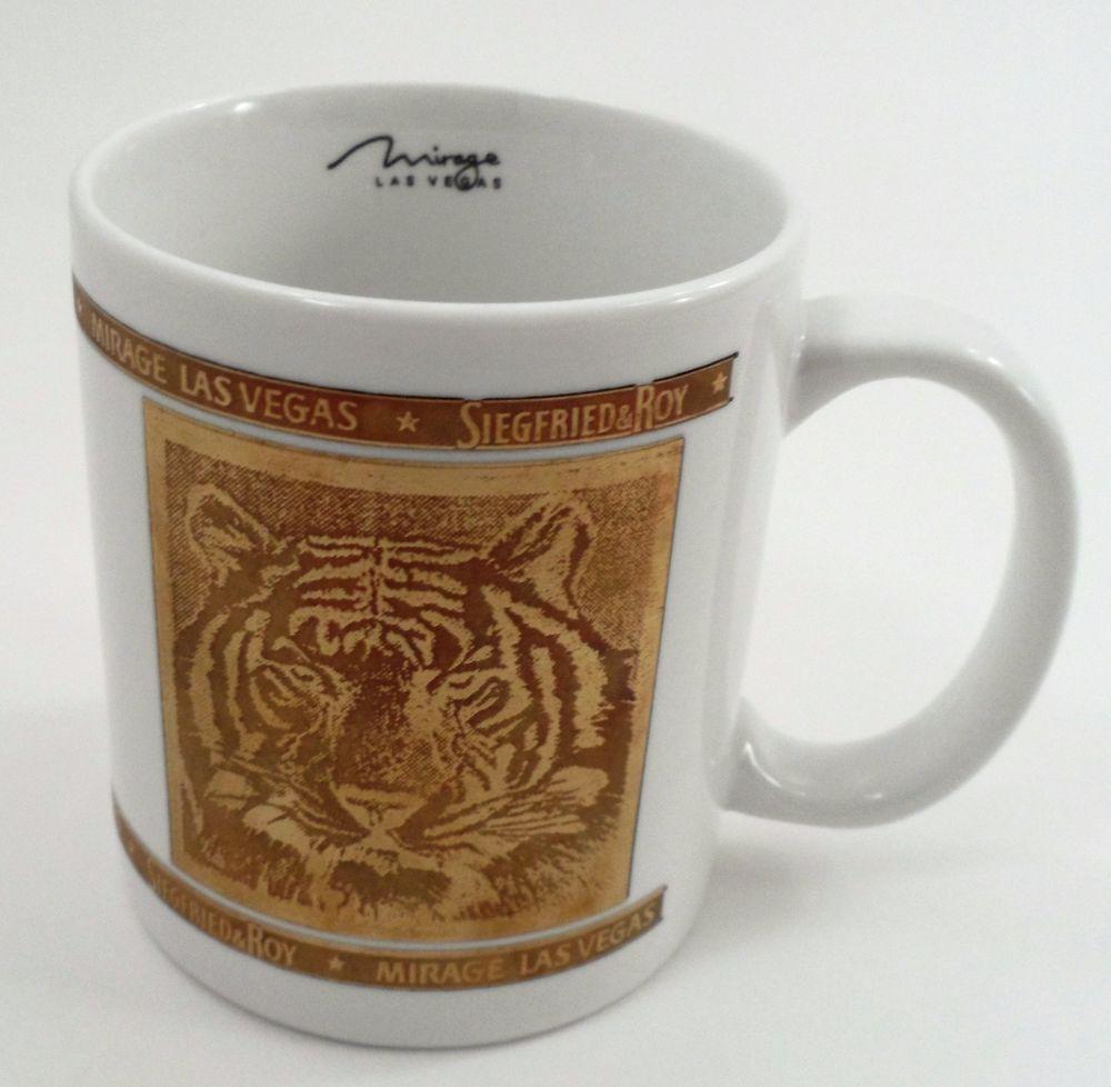 Collectible Siegfried & Roy Mirage Las Vegas Gold Embossed Tiger & Signature Mug
