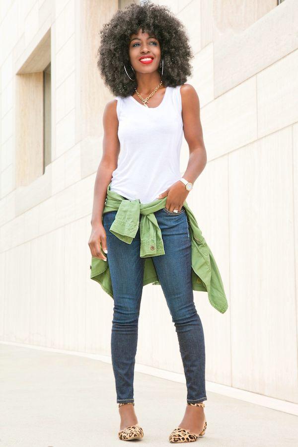 Military Jacket + White Tee + Stiletto Jeans Style Pantry waysify
