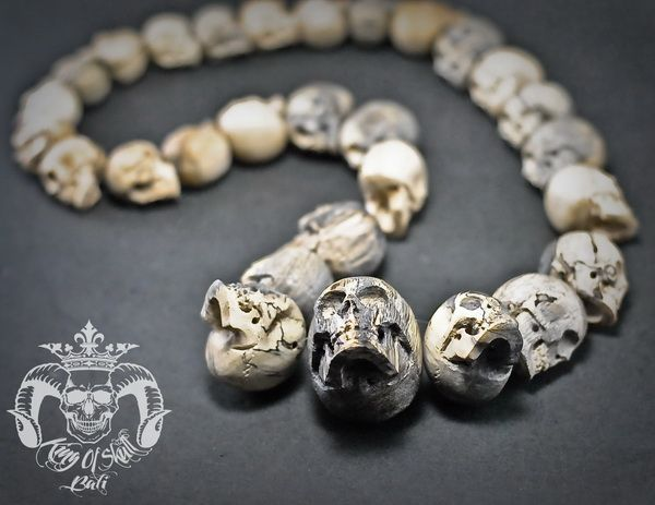 Hand Carved Sculpture 29 Tamarind Wood Human Skull into Necklace Oddities Find this necklace skulls on Etsy