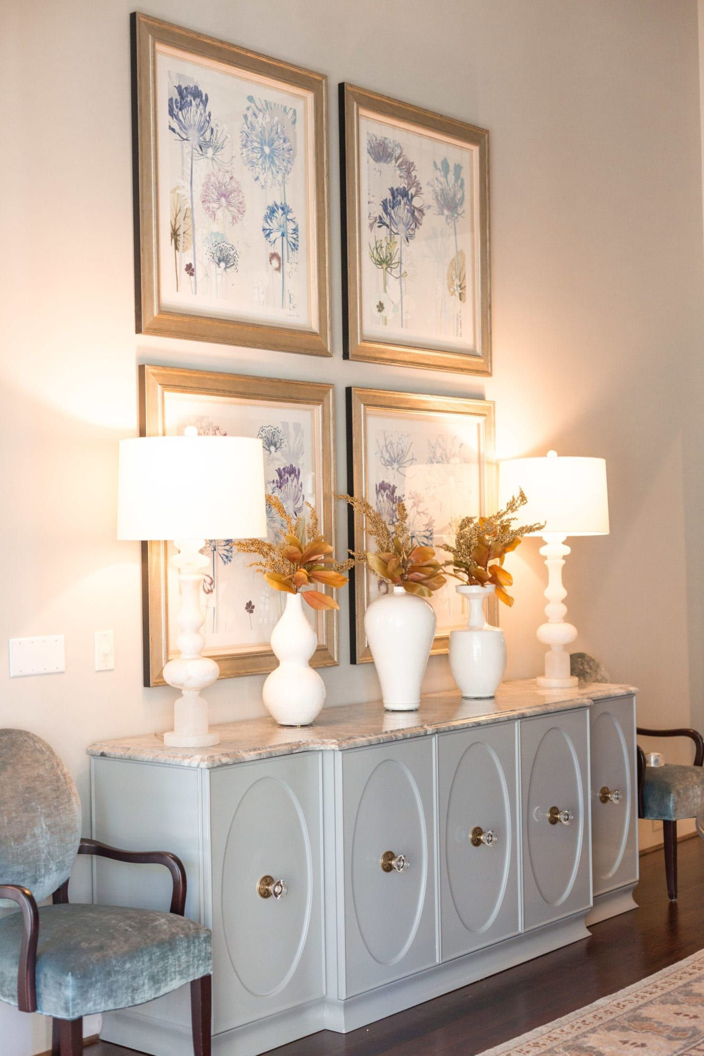 Dining Room Buffet Console Modern With A Little Bit Of White Vases And Fall Leaves