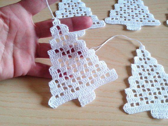 Crochet tree Christmas decorations set of 6 crochet tree | Etsy