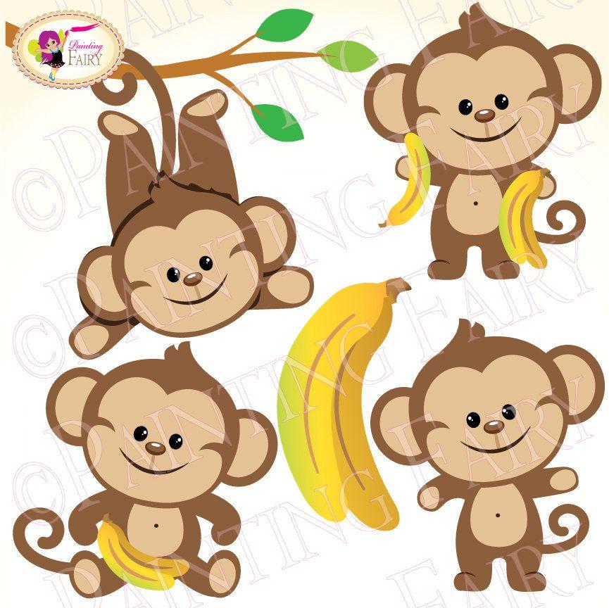 Clipart Buy 2 Get 1 Free Lovely Cute Boy Monkeys Bananas Zoo Clip
