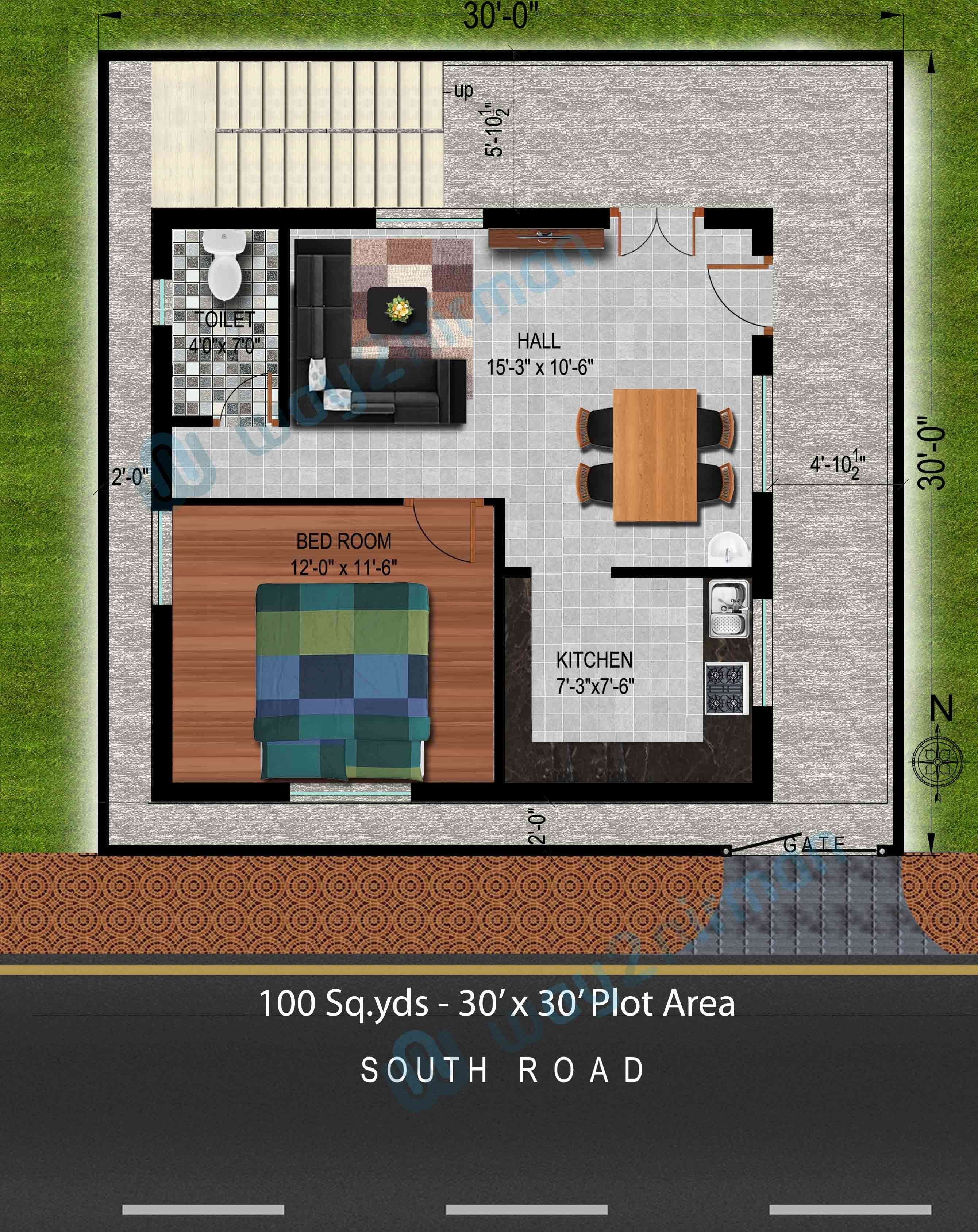 100 Sq Yds 30x30 Sq Ft South Face House 1bhk Floor Plan Jpg House Plans House Plans With Pictures Model House Plan