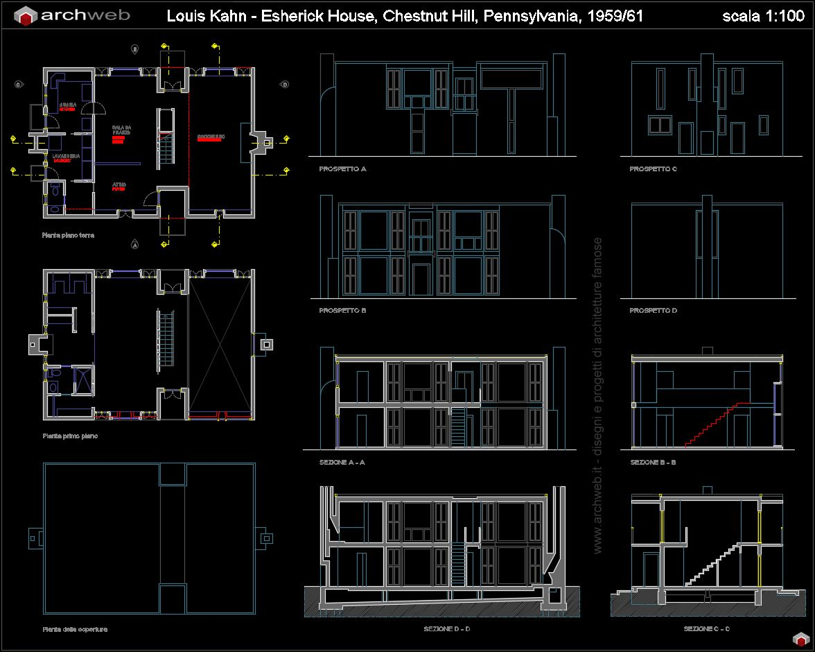 Esherick house autocad dwg project pinterest for House plan cad file